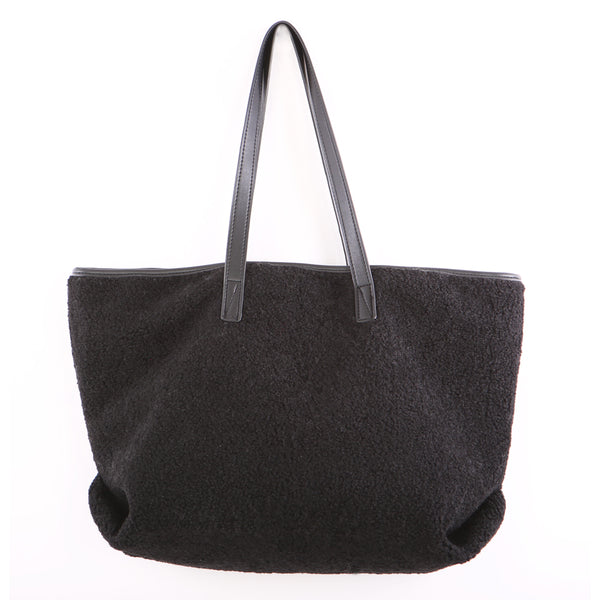 BLACK TEDDY FLEECE TOTE BAG
