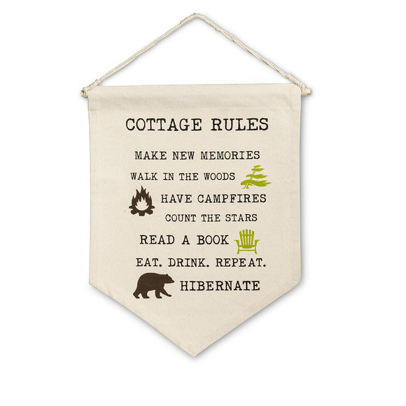 Cottage Rules Wall Pennant - Flamingo Boutique