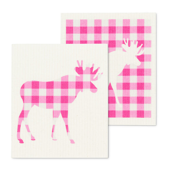 Pink Gingham Moose Dish Cloths. Set of 2 - Flamingo Boutique