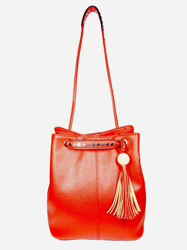 HANDBAG  WITH TASSEL - Cherry