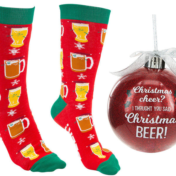 Christmas Beer Ornament With Holiday Socks - Flamingo Boutique
