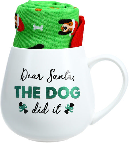 Dear Santa, The Dog Did It Mug and Sock Gift Set - Flamingo Boutique