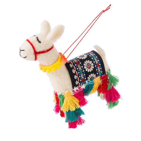 Llama with Tassles Felt Ornament
