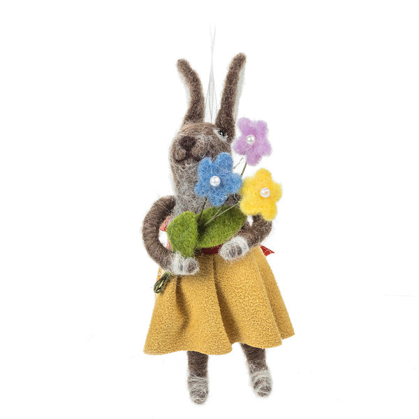 Rabbit With Flowers Felt Ornament