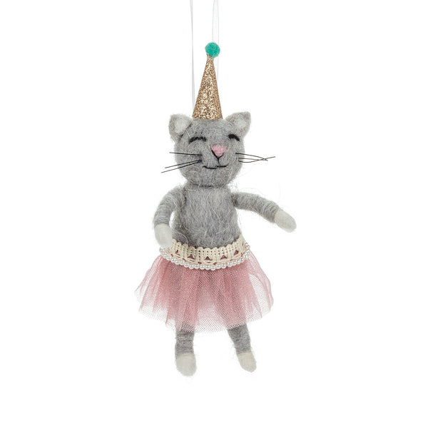 Cat In A Party Hat Felt Ornament