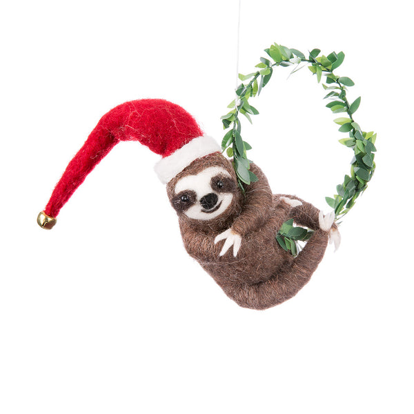 Sloth on Wreath Felt Ornament