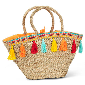 Seagrass Vacation Tote With Tassels - Flamingo Boutique
