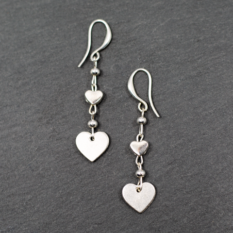 Double Drop Heart Earrings In Silver Plate