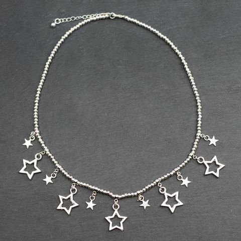 Short Charm Necklace With Drop Stars in Silver Plate