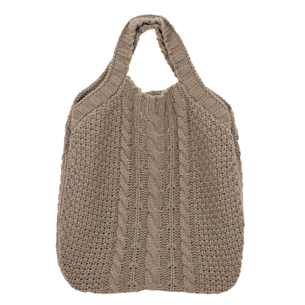 TAUPE  KNITTED CABLE PATTERN TOTE BAG