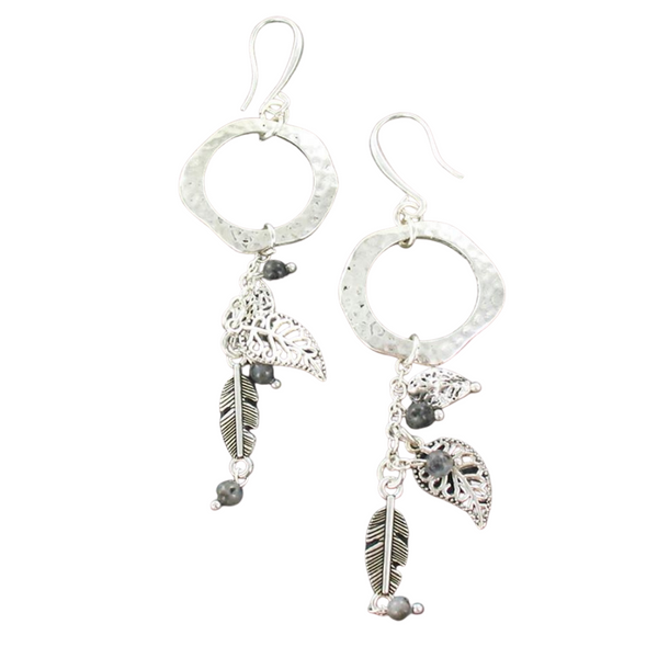 Beaten Ring With Leaf Charms Earrings In Silver Plate - Flamingo Boutique