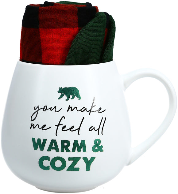 You Make Me Feel All Warm & Cozy Mug and Sock Gift Set - Flamingo Boutique
