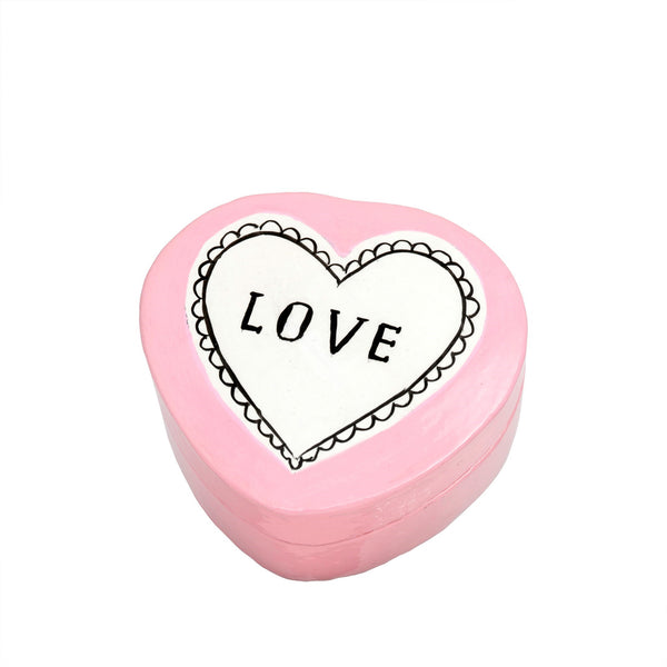 Love Kashmiri Pink Heart Shaped Box