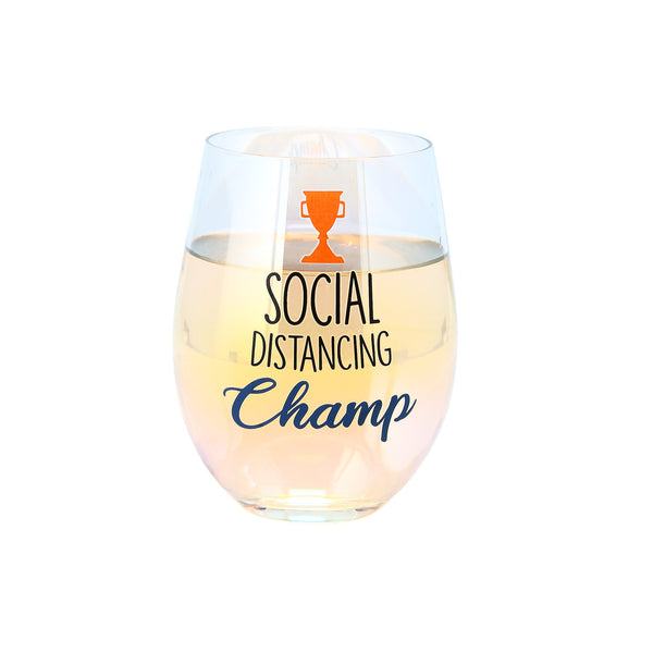 Social Distancing Champ Stemless Wine Glass