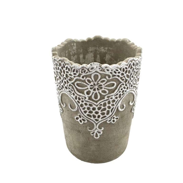 Plant Pot With Lace Detail - Tall - Flamingo Boutique