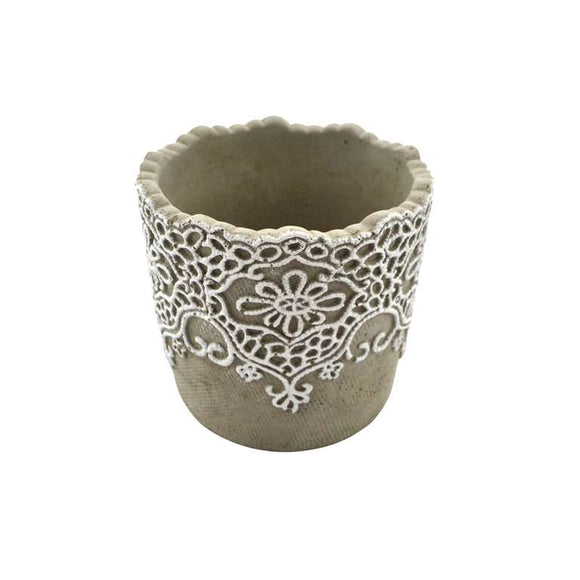 Plant Pot With Lace Detail - Medium - Flamingo Boutique