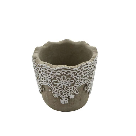 Plant Pot With Lace Detail - Small - Flamingo Boutique
