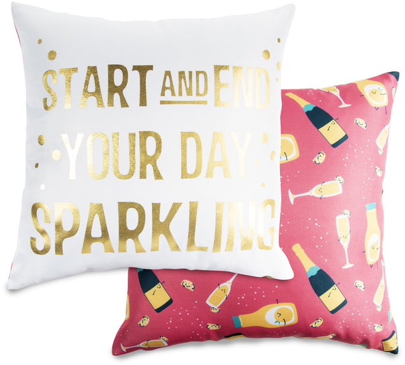 Start & End Your Day Sparkling Cushion - Flamingo Boutique