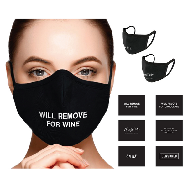 Black Face Masks With Sentiments