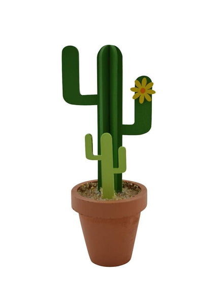 Wooden Double Cactus In Pot - Flamingo Boutique