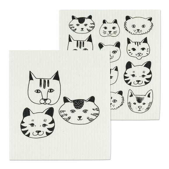Simple Cat Face Dish Cloths Set Of 2