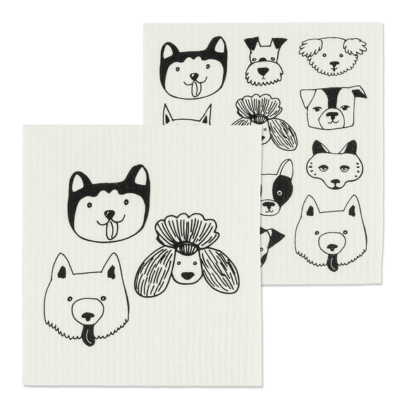 Simple Dog Face Dish Cloths Set Of 2