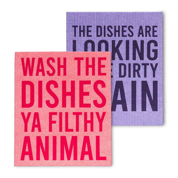 Wash The Dishes Ya Filthy Animal Dish Cloths. Set of 2 - Flamingo Boutique