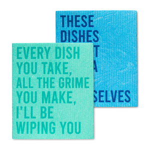 I'll Be Wiping You Dish Cloths Set of 2 - Flamingo Boutique