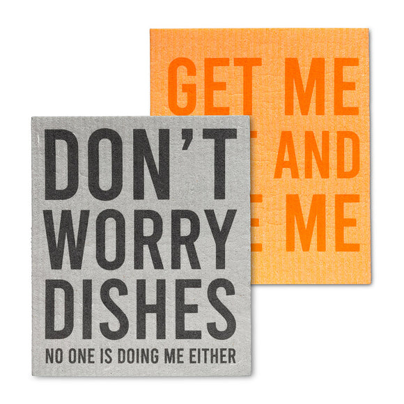 Don't Worry Dishes Dish Cloths. Set of 2 - Flamingo Boutique