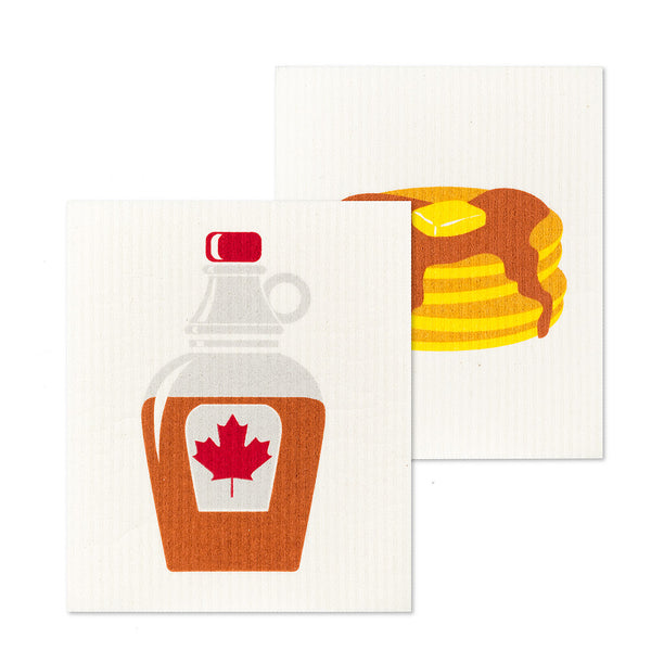 Pancakes & Syrup Dish Cloths. Set of 2