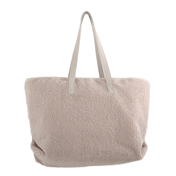 TAUPE TEDDY FLEECE TOTE BAG