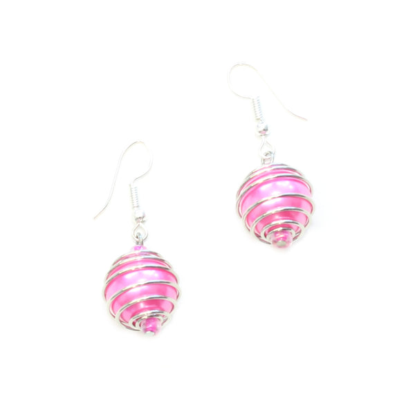 Spiral Wrapped Pearl Bead Earrings - Flamingo Boutique