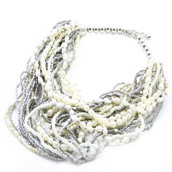 Multi Strand Pearl & Shell Necklace