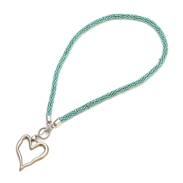Short Beaded Open Heart Necklace - Flamingo Boutique