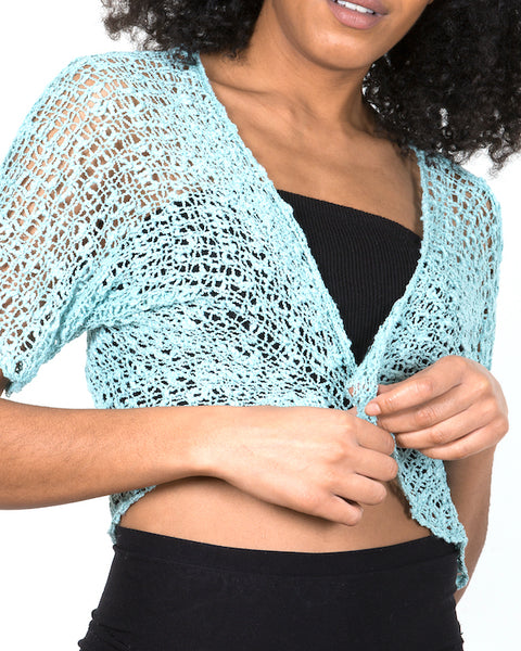 Popcorn Knit Bolero - Mint - Flamingo Boutique
