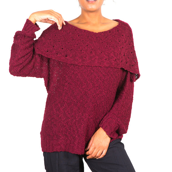 Popcorn Knit Sweater - Claret - Flamingo Boutique