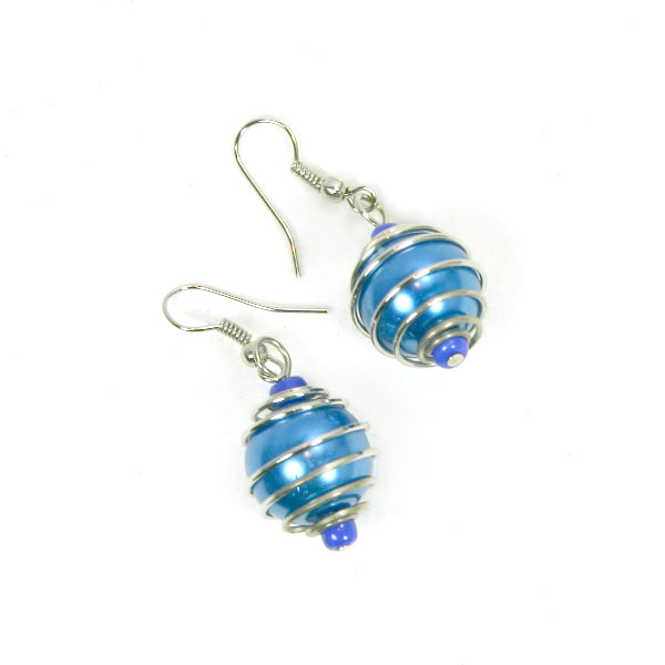 Spiral Wrapped Pearl Bead Earrings