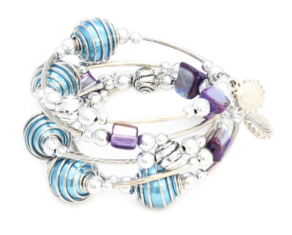 Spiral Wrapped Pearl Bead Bracelet