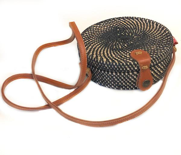 Round Rattan Cantina Purse - Black