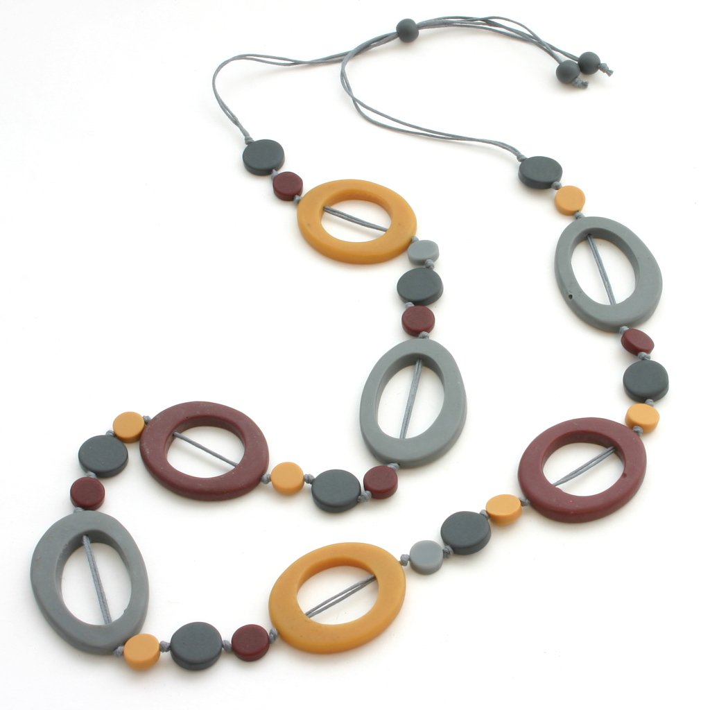 Maroon & Gold Mix Resin Hoop & Disc Necklace - Flamingo Boutique