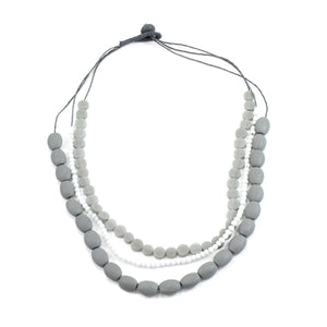 Triple Strand Grey Resin Necklace - Flamingo Boutique