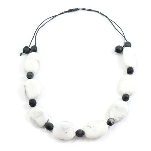 Stone Grey Resin Pebble Necklace