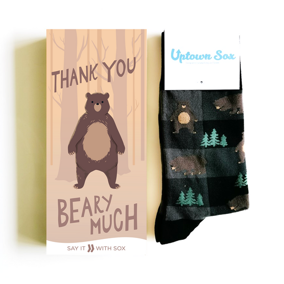 Thank You Beary Much Card & Socks - Flamingo Boutique
