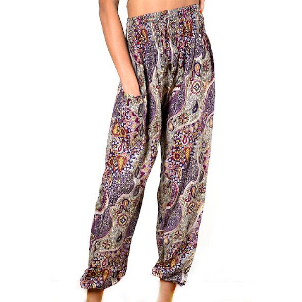 Purple Paisley Print Bali Pants