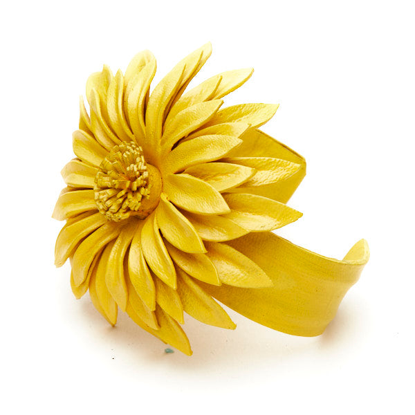 Leather Flower Cuff - Flamingo Boutique