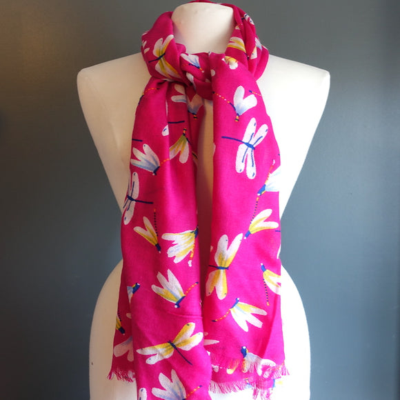 Pink Dragonfly Scarf - Flamingo Boutique