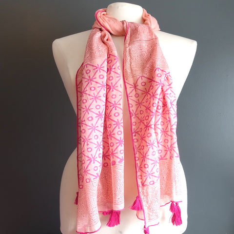 Pink Indian Cotton Scarf With Tassels - Flamingo Boutique