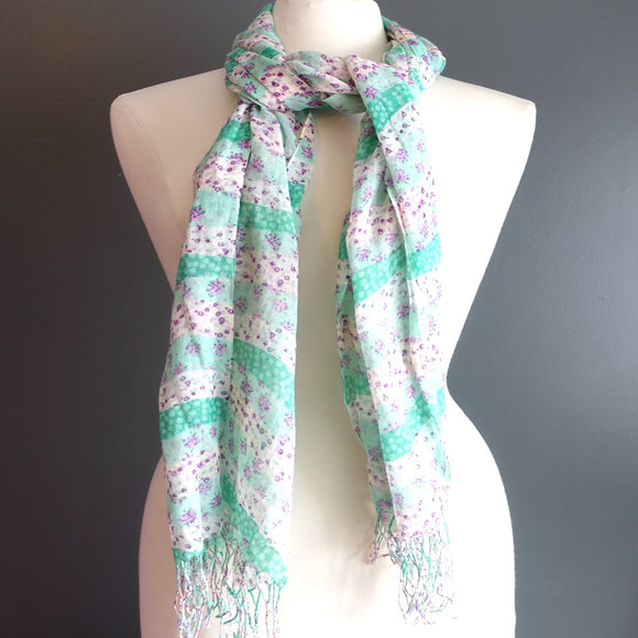 Pink & Green Flower Scarf - Flamingo Boutique