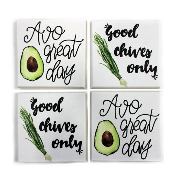 Chives/Avocado Coaster Set - Flamingo Boutique