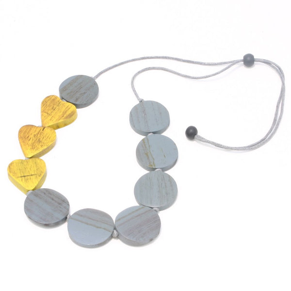 Wooden Heart & Disc Necklace